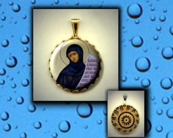 St Sarah Desert Mother wife of Abraham Orthodox Patron Saint of Laughter hand pressed flat metal button CABOCHON in Brass Charm / Pendant