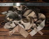 Mixed Leather Scraps, Taupe Colored, 11.8oz / 335g, Small Size Leather Destash