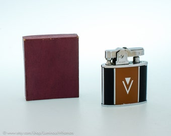 Working Vintage Art Deco Automatic Pocket Lighter - MIB