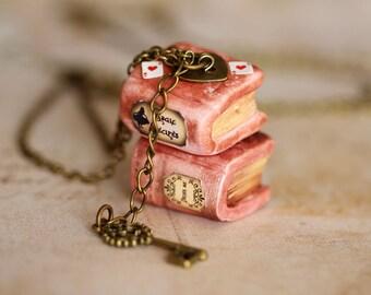Alice in Wonderland Necklace - Fairy tale Necklace - Kawaii Necklace - Book Necklace - Spell Book Necklace - Magic Book Pendant