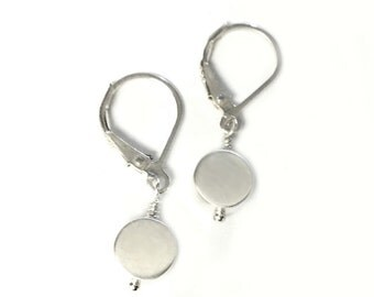 Sterling Silver Dangle Dot Earrings - Handmade Silver Jewelry - Last and Only Pair