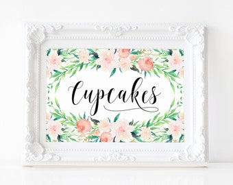 "Instant Download - Delicate Bouquet Cupcakes Print - 5""x7"""