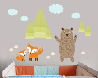 Fox Fabric Wall Decal, Bear Wall Decal, Fabric Woodland Critters Decals, Peel and Stick Forest Friends Decal, Cloud Decal, Boys Forest Decal