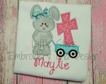 Easter Bunny Wagon with Cross - Appliqued and Personalized Shirt