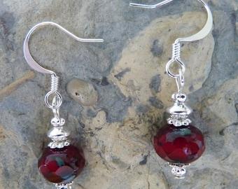 Czech Glass Earrings, Red Czech Glass Earrings, Red Earrings, Handmade Earrings, Red Czech Glass, Czech Glass, Cute Earrings