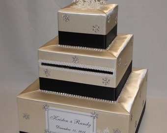 Champagne and Black Winter/Snowflake theme Wedding Card Box