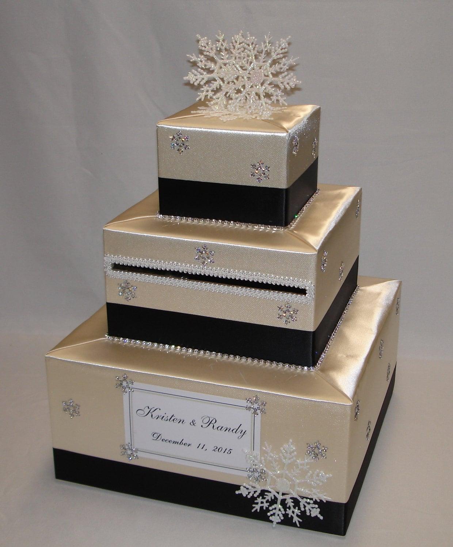 Champagne And Black Winter Snowflake Theme Wedding Card Box