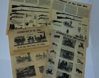 Choice of ONE Full page reproduction on parchment illustrated civil revolutionary war weapons automobiles trains Vintage paper supplies