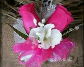 RESERVED for debby31201 Hot pink white silk pin on corsage Boutonniere  Groom groomsman mother wedding flowers keepsake flowers