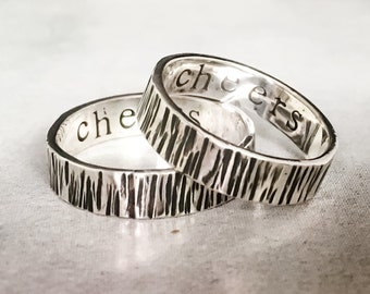 Rugged Marked Band // Sterling Silver // Personalized