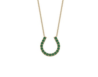 Emerald Sapphire Ruby Lucky Horseshoe Necklace in 14k Yellow Gold | made to order for you within 5-7 business days