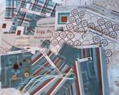Large destash lot. Scrapbook paper, ephemera, tags, blue, brown, cardstocks, stickers, ribbon, collage, decoupage, art journal 78 pieces