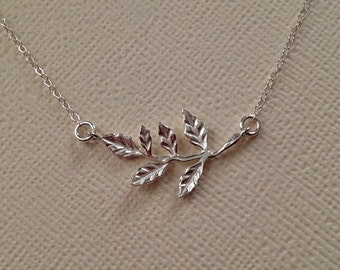 Holly Branch Necklace in Sterling Silver -Tiny Silver Branch Necklace -Christmas Necklace -Holly Necklace
