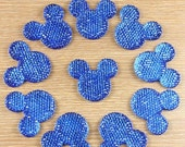 ON SALE Lot 10pcs Blue Mickey Mouse Shape Cabochons Resin Flatbacks Scrapbooking Girl Hair Bow Center Crafts Making Embellishments DIY