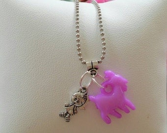 10 Little Girl and Goat Necklaces Party Favors.