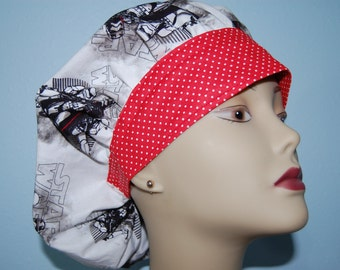 Bouffant Scrub Cap Star Wars with Red and White Polka Dot Band / Chemo/ Chef/ Vet/ Alopecia/ Surgical Uniform by Hot Headz