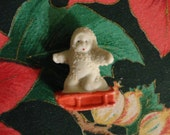"Vintage Christmas Original 1930s Snow Baby - Kneeling on a red sled, 1 3/4"" high, white porcelain flocking, ""Japan"", Snow Scene figurine"