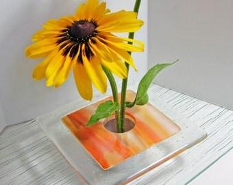 Fused Glass Ikebana Vase Art Glass Home Decor Orange and White Flower Bud Vase Gifts Under 50 Dollars Bud Vase Gifts for Her or Him