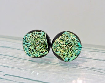 Dichroic Fused Glass Earring Posts Lime Green Jewelry Womens Accessories Gifts for Her Under 15 Dollars Gifts for Mom Birthday for Her