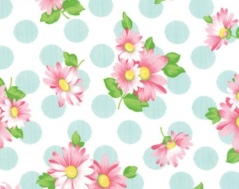 Pink Floral and Blue Polka Dot Fabric - Sew & Sew from Chloe's Closet by Moda 1 Yard