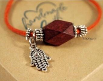 Rust Leather Bracelet, Wood and Leather Bracelet,  Tibetan Silver Hamsa Hand Charm Leather Bracelet, CKDesigns.US
