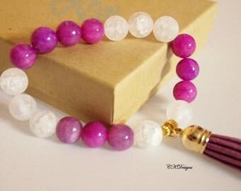 Tassel Beaded Bracelet,  Purple and White Beaded Bracelet, Tassel Beaded Stretchy Bracelet. OOAK Handmade Bracelet. CKDesigns.US