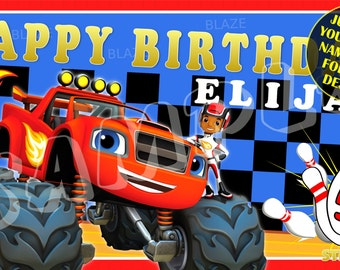 Blaze and the Monster Machines Bowling Party Personalized Custom Birthday Banner Party Decoration