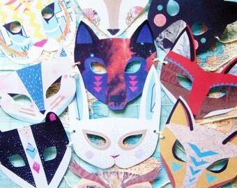 Paper Animal Mask Mega Set, 10 Woodland Forest Creatures, Birthday/Wedding Favors