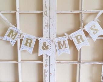 "Summer Wedding ""MR & MRS"" Banner ~ 40% Off ~ Gold Photo Prop ~ White and Ivory colored paper ~ 2017 Bride ~ Bridal Shower Decor"