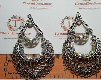 2 pcs or 1 pair of 34x59m Clear AB Rhinestone Filigree Chandelier Earring Findings Antique Silver Finish Lead Free Pewter