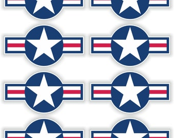 8x US Airstars Blue Air Force Star Military Stickers for Laptop Book Fridge Guitar Motorcycle Helmet ToolBox Door PC Boat