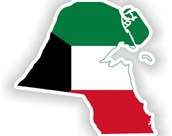 Kuwait Map Flag Silhouette Sticker for Laptop Book Fridge Guitar Motorcycle Helmet ToolBox Door PC Boat