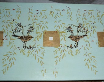 Bespoke coffee table with hand painted  gold leaf birds & arts and crafts willow stencils.