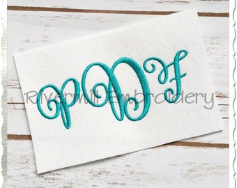 Carried Away Monogram Embroidery Font Alphabet - 3 Sizes