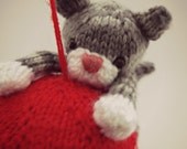 PATTERN ONLY - Swinging Kitty Ornament - PDF knitting instructions-instant download