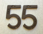 "HOUSE NUMBER, set of 2 numbers for address sign,  5"" tall,  Made to Order from horseshoes"