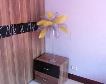 50 Yellow & 50 Silver wedding table centerpiecetable decoration,ostrich centerpiece,ostrich feather centerpiece