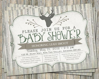 Rustic Deer shower invitation,green, brown, birch trees, gray, digital, printable file