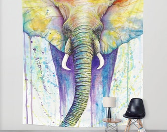 wall tapestry,watercolor,painting,artwork,wall hanging,wildlife,animals,animal art,abstract,animal totem,elephant,african,rainbow,color,nice