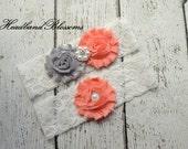 CORAL & GRAY Bridal Garter Set - White Keepsake and Toss Wedding Garters - Chiffon Flower Rhinestone Garter - Vintage Lace