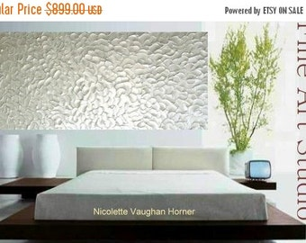 "Sale HUGE 72"" x36"" Abstract painting,Original comtemporary Art,White Metallic,lots of texture by Nicolette Vaughan Horner"