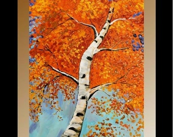 Sale Original Birch Trees Painting Landscape Autumn/Fall  Palette Knife, Textured Blue Brown Gold Red by Nicolette Vaughan Horner