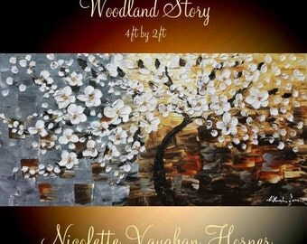 """Sale XL Oil White  Weeping Cherry Blossom painting Abstract Original Modern 48"""" palette knife impasto oil painting by Nicolette Vaughan Horn"""