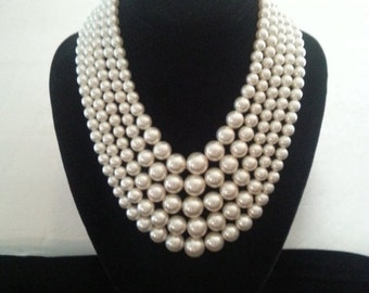 Christmas In July Sale Vintage Faux Pearl Bib Necklace * 5 Strand * Mad Men Mod * Hollywood Regency Mid Century Jewelry