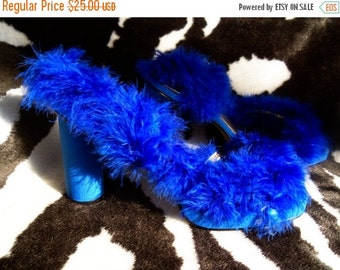 Now On Sale Vintage Blue Feather High Heel Shoes 1980's Rockabilly Mad Men Mod  Funky Fun  Accessories In Original Box by Dream Line Rhinest