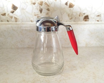 Bakelite Handle Syrup Pitcher - Androck Red Bakelite Maple Syrup Dispenser - Vintage Kitchen Decor - Chrome Kitchen
