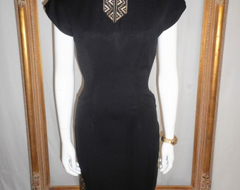 Vintage 1940's California Whimsies Black Dress with Gold Trim - Size 10