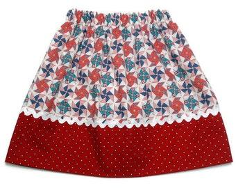 4th of July Girls Skirt Pinwheels Red Stars Patriotic - Size 2 / 3, 4 / 5, 6 / 7, 8 / 9