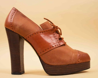 90s does 70s Vtg Nubuck SIENNA Lace Up Spectator MOD High Heel PLATFORM Oxfords / Boho Hippie Glam / 10 B - 9.5 Euro 41 42