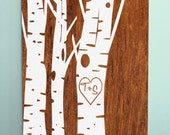 "Wood Sign 12x18 "" Carved Birch Trees "" no vinyl"